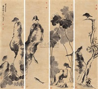birds and flowers (set of 4) by niu shihui