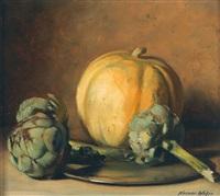 melone mit artischocken und zinnteller by werner weber