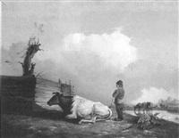 landskab med koer og hyrde ved et vandhul by jacques van gingelen