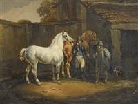 zwei pferde vor gehöft by joseph simon volmar