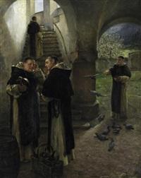 zwei mönche im gespräch vor der treppe zum dormitorium by arthur hutschenreuter