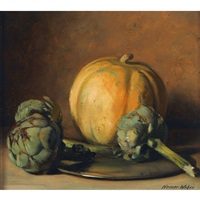 stillleben mit melone und artischocken by werner weber