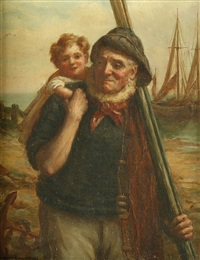 fisherman returning with child on shoulder by sydney percy kendrick
