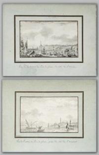 vedute del porto di genova (pair) by pierre ozanne