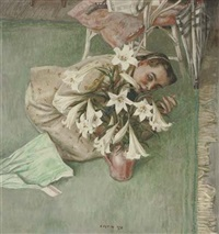 girl arranging lilies by robert sargent austin
