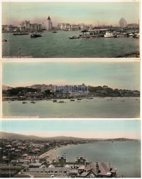 厦门、烟台、上海旧影 (4张) (panorama views of xiamen, yantai and shanghai) (set of 4) by ah-fung studio