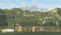 alpaufzug vor appenzeller landschaft by christian vetsch