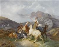 berglandschaft mit hirtin und ziegen by joseph simon volmar