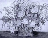 still life, floral arrangement in basket by w. newcomb