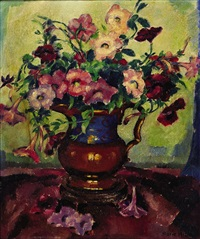 still life of petunias by marie atkinson hull