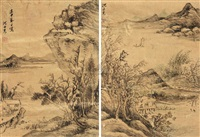 lonely fishing in autumn forest (2 works) by shen shichong