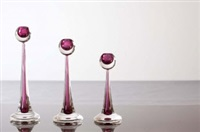 a set of three sommerso glass candlesticks by antonio da ros