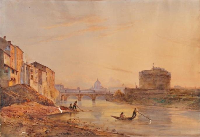 vue du tibre avec le château saint ange à rome by giacinto gigante