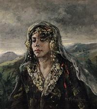 portrait einer jungen, hübschen frau in tracht by maria (philips-weber) weber