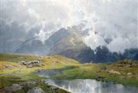 wolkenverhangene hochgebirgslandschaft by carl julius e. ludwig