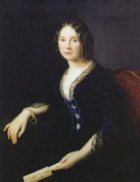 portrait einer jungen hübschen frau mit stöpsellocken und blauem samtkleid by augustine camille lesueur