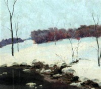 winter landscape with stream by wuanita smith