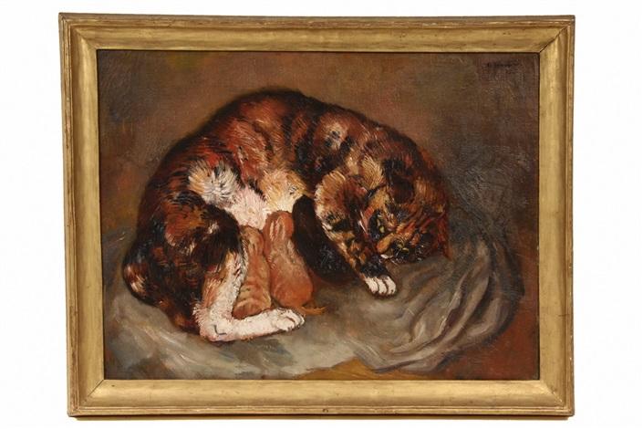 nursing cat by bernard karfiol