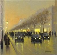 abendliche boulevardszene mit passanten und automobilen by gernot rasenberger