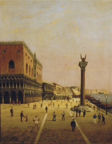 view of the palazzo ducale and the riva schiavoni venice by c alfieri