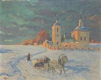 slädfärd vid kyrka by olga aleksandrovna (princess of storfyrstinde)