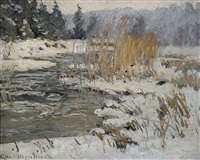 winterliche bachlandschaft by otto altenkirch