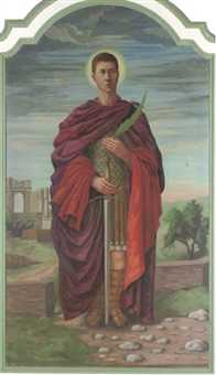 a standing saint in roman dress holding a sword and a palm leaf by margaret arc