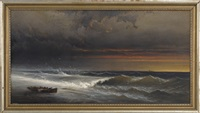a launch washed ashore under sunset skies by james hamilton