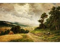 grosse flusslandschaft mit aufgelichteten wolken und heuernte im mittelgrund by joseph langl