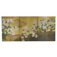 white spider chrysanthemums (six fold screen) by japanese school (18)