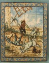 sancho corrio tan deprisa como podía ir el burro para ayudar a su amo by julian santacruz