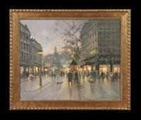 paris street scene, evening by paul renard