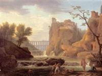 italienische landschaft in klassischer auffassung mit wasserfall, felsenstadt und viadukt by melchior vogel