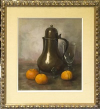 oranges and silver still life by henk bos