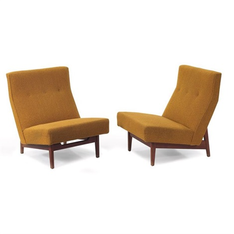 slipper chairs pair by jens risom