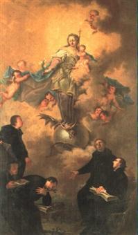 madonna med barnet staende pa maneseglet, i forgrunden   praester by ignaz joseph raab