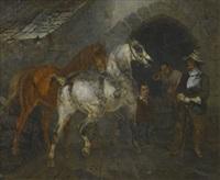 edelmann mit zwei pferden beim hufschmied by joseph simon volmar