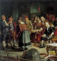 holberg indstuderer en scene fra erasmus montanus på den gamle skueplads by hans peter lindeburg
