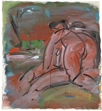 ohne titel (sitzende figur), anfang der 80er jahre by siegfried anzinger