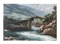 paisaje fluvial con puente by antonio iglesias sanz