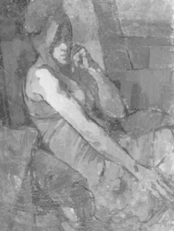 sitzende frau in rot by leo klosa