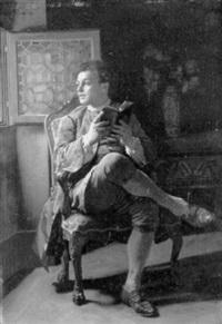 lesender junger mann am fenster by adolphe charles edouard steinheil