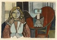 ohne titel (+ ohne titel (landschaft), 1950 watercolor, ink on paper, smllr; 2 works) by karl heidelbach