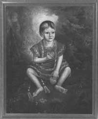 portrait of a young girl seated in a leafy bower holding a peach and an apple by american school-louisiana (19)