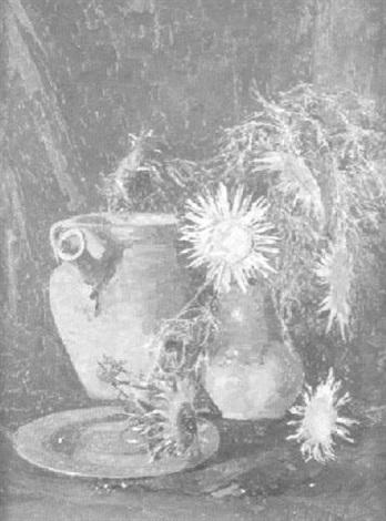 stilleben mit silberdisteln tonkrug und teller by rudolf thost