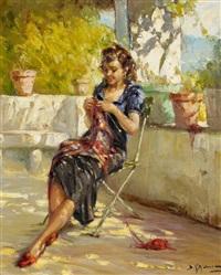 junge dame auf der terrasse by richard durando-togo
