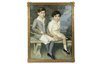 brother and sister in tennis outfits, seated on garden bench by harry solomon