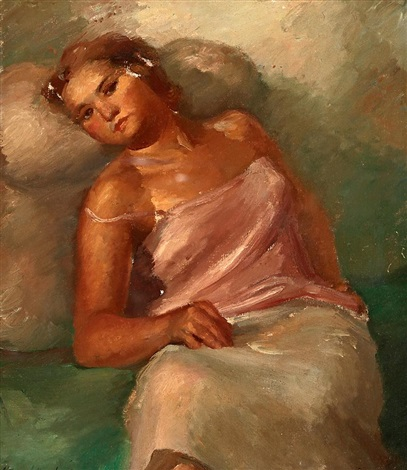 joven sentada by manuel humbert