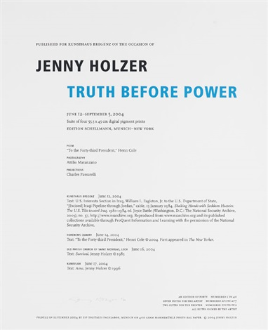 truth before power portfolio of 4 wtitle pg colophon by jenny holzer