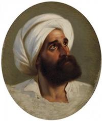 porträt eines bärtigen herrn mit weißem turban by paul emil jacobs